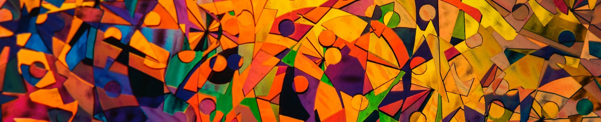 Abstract art in predominantly orange, with a bit of purple and green scattered throughout.