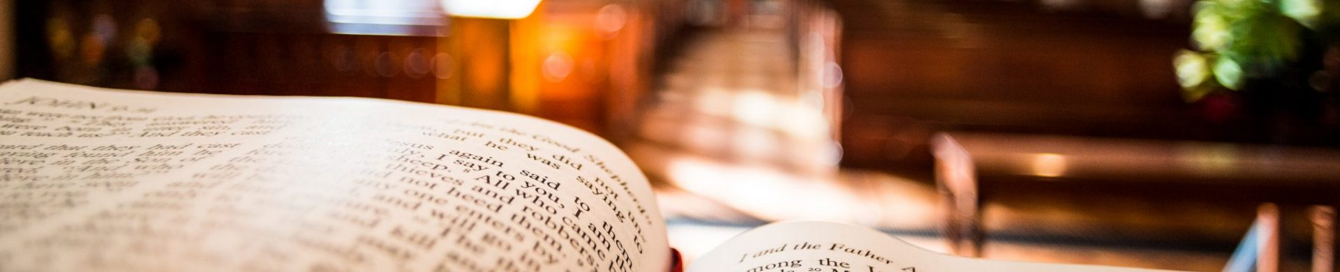 Open bible on altar inside church